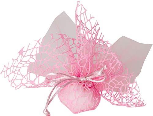 Confezione 30 pezzi, Bomboniera sacchettino (misura 10x12) polycotton rete + velo organza + nastro autotirante, portaconfetti. (ck1768) (Rosa)