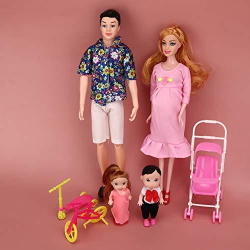 Liukouu Juego de muñecas de la familia, juguete de la casa de los juegos de ABS, juntas libremente (Printed Blue T + Pregnant Powder)