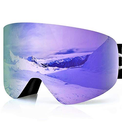 devembr OTG Ski Goggles PRO, Snowboard Goggles Anti-Fog, Magnet Interchangeable Lens, UV Protection, Helmet Compatible for Men & Women, Snow Goggles with Hard Case, Skiing Snowmobile Skating, VLT 16%