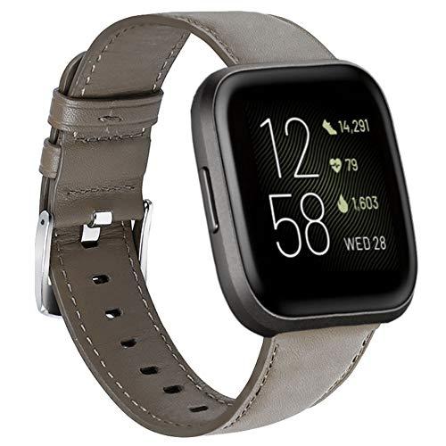 Nigaee Uhrenarmband für Fitbit Versa Armband/Fitbit Versa 2 Armband Leder kompatibel mit Fitbit Versa Lite Ersatzarmband aus echtem Leder Armbänder Versa Serien Armband Zubehör Lederarmband