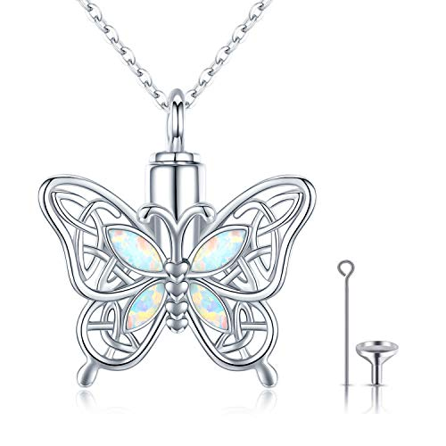 CHENGHONG Butterfly Urn Necklace for Ashes for Women 925 Sterling Silver Celtic Knot Irish Necklace Cremation Jewelry for Ashes for Human Keepsake Memorial Jewelry Gifts for Ashes for Girls Mom