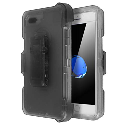 iPhone 6 Plus/6S Plus/7 Plus/8 Plus Shockproof Case, AICase Full Protective Clear Defender Cover Heavy Duty Holster Case 4 in1 Rugged Shockproof Cover with Belt Clip (Gray)