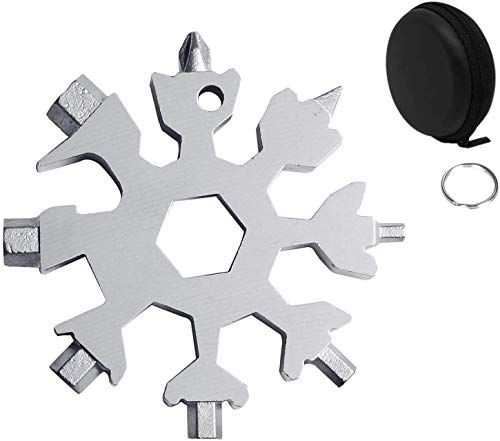 Snowflake Multi Tool 18 in 1 - Portable Stainless Steel Hand Tools with Keyring, Carabiner Clip and a Gift Bag - Pocket Friendly Multitool with Hard Case for Outdoor Travel and Camping Adventures
