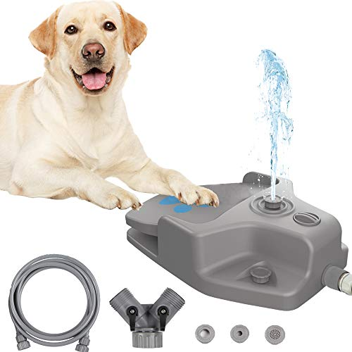 Dog Water Fountain Step on Dog Sprinkler Toy, Automatic Pet Drinking Fountain Paw Activated Dog Watering Dispenser with 3 Nozzles, 9.8ft Hose & 2-Way Splitter for Small Medium Large Dogs Outdoor Fun