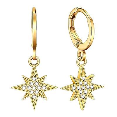 Ldurian Starburst Hoop Earrings Dangle, Sparkly Star Ear Huggies, Tiny Charm Hoops, Minimal Boho Earrings, Celestial Design, Gift for Her Women (14K Gold Plated)