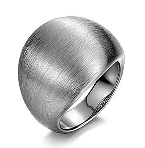 RXSHOUSH Anillo de los Hombres 925 Silver Abrir Anillo Cepillado Joyería para Hombre Boyfriend Son Holiday Regal Regalo Lucky Ring Solid