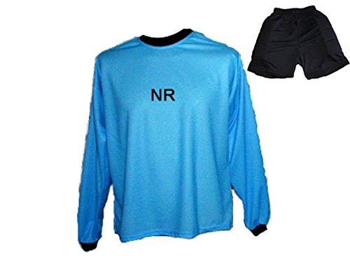 Torwart Trikot gepolstert Blau Kurze TW Hose mit Wunschname Nummer Kinder Größe 158