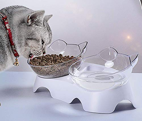 N / A 15°Tilted Platform Double Bowl Cat Feeder,Raised Cat Food and Water Bowls with Stand No Spill,Reduce Pets Neck Pain for Cats and Small Dogs