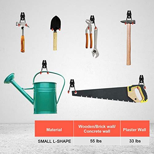 Garage Hooks Heavy Duty, Steel Garage Storage Hooks, Zalava 6-Pack Utility Double Mini L-Shape Hooks for Garage Hanging Power Tool, Wall Mount Garage Organizer, Bike, Ladders, or Bulk Items, 6 Pack