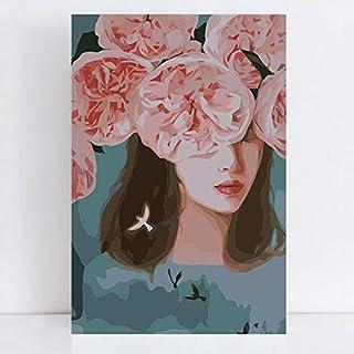 Herz, das mit Blaumen-Malereien blüht, die Farbzeichnung durch durch durch Zahlen auf Segeltuch mit Nummerierungsfarbe durch Zahl-Ausrüstungen zeichnen Acryl Mit Rahmen 40x50cm B07MC85LT8  Bestseller 870eac