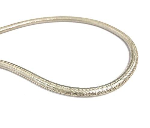La Conchiglia - Collana Snake Metà Piatta Metà Rotonda Uomo Donna Argento Indiano D.6mm L.43,5cm