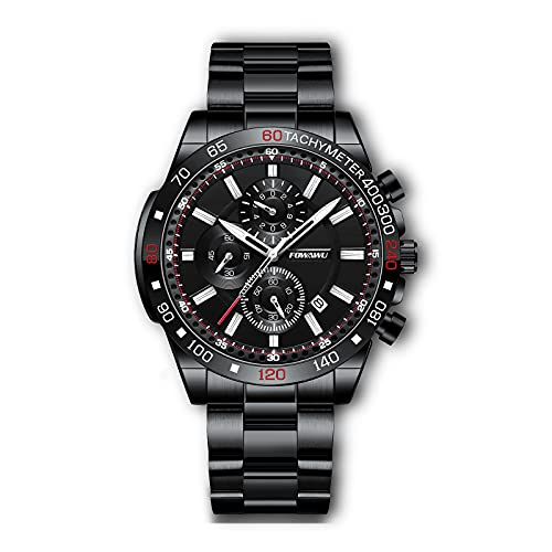 FOWAWU Cronografo Reloj Hombre Acero Clasico,Luminoso Empresarial Cuarzo Analogico Moda 30M Impermeable Inoxidable Acero Relojes para Hombre,Deportivo con Fecha Relojes de Relojes Pulsera Watch