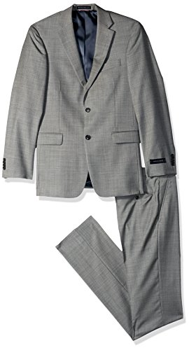 Tommy Hilfiger Men's Modern Fit Performance Suit with Stretch, Black/White Sharkskin Pattern, 40 Long