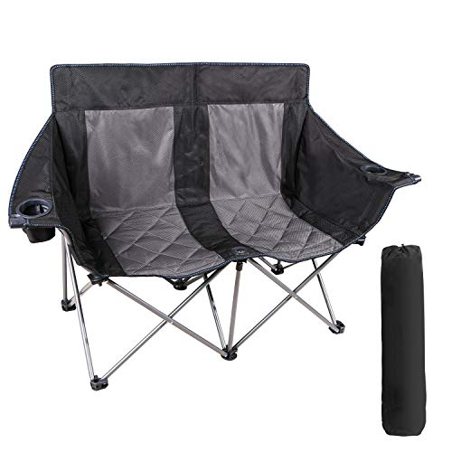 RedSwing Double Camping Chair, Loveseat Camping Chair Heavy Duty Oversized, Folding Double Camp Chair with Carry Bag