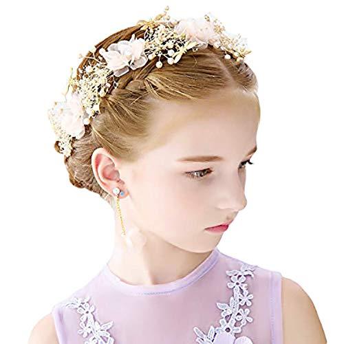 Runtodo Fascia per capelli con fiori secchi da principessa, accessorio per capelli per donne e ragazze e diademi da sposa per ragazze e damigelle d'onore