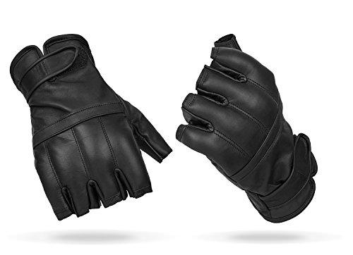 Blacksnake® Halbfinger Defender Handschuhe mit Quarzsandfüllung Fingerlose Einsatzhandschuhe aus Echtleder mit Sandfüllung Schwarz XXL