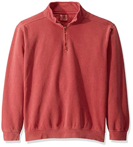 Comfort Colors Men's Adult 1/4 Zip Sweatshirt, Style 1580, Crimson, Large