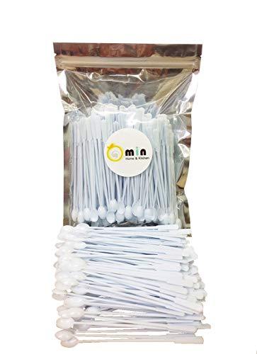 300 Count Omin White Plastic Coffee Stirrers, Tea Stirrer Spoon, Stir Swizzle Sticks, Bar Tool 5 Inch