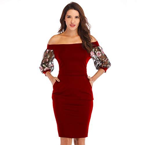 pridesong Frauen Europa und den Vereinigten Staaten Wort Kragen Stickerei Spitze Sieben-Punkt-Ärmel hip sexy Kleid weinrot XL