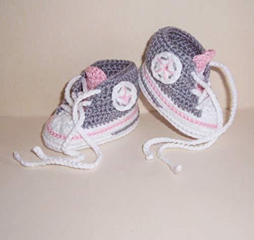Babyschuhe - Turnschuhe - Sneaker gehäkelt gestrickt Schuhgröße 16/17