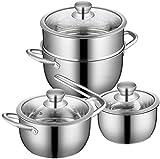 CHENXU Kochtopf Set für Küchen Edelstahltopf & Pan Sets Induktion Safe mit gehärtetem...