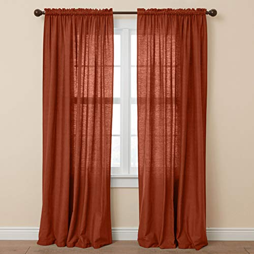 BrylaneHome Poly Cotton Canvas Rod-Pocket Panel Window Curtain Drape - 48I W 63I L, Terracotta
