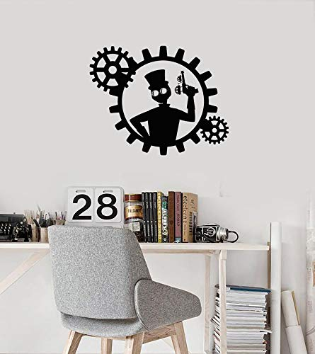 Ajcwhml Steampunk wall decals for kids room decoration men with gear room home decoration stickers mural vinyl waterproof decals - 67X54CM