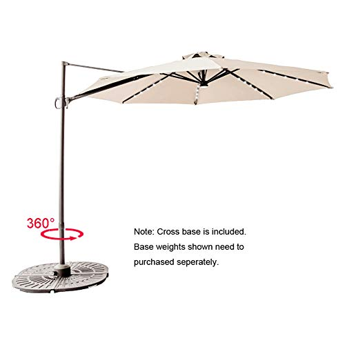 C-Hopetree 10' LED Lighted Cantilever Offset Hanging Market Umbrella with Tilt and Solar Lights for Large Outdoor Balcony or Terrace, Beige