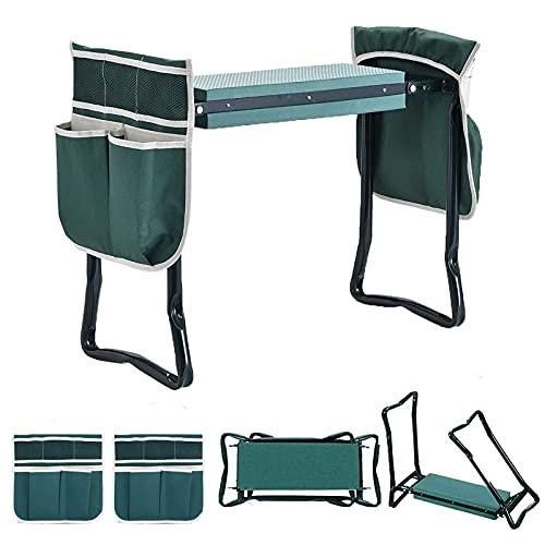Tabouret de jardin pliable 2 en 1 - Portable - Avec rembourrage en mousse pour protéger les genoux - Facile à...