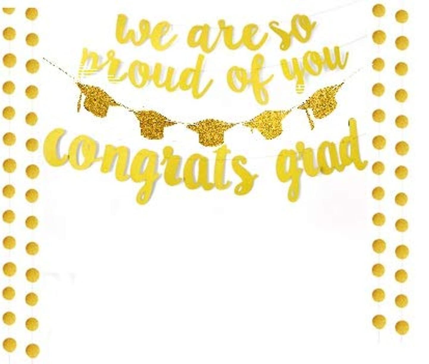 Gold Glittery We are So Proud of You Banner with Glitter Graduation Hats and Circle Dots -Graduation Party/Grad Party Decorations