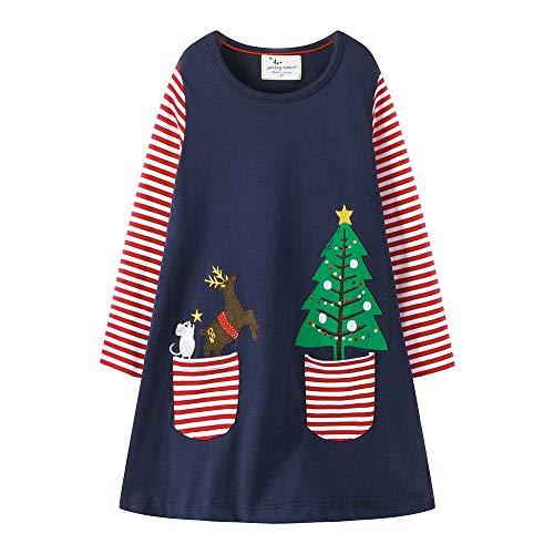 Mädchen Sommer Streifen Kurzarm Lange Ärmel Baumwolle T-Shirt Kleid (3-8 Jahre,80-140CM)