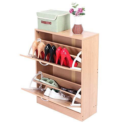 Inicio Equipamiento Armario para zapatos con 2 puertas abatibles Organizador de almacenamiento Armario para zapatos abatible moderno Mueble de madera para botas Almacenamiento de tacones en la entr