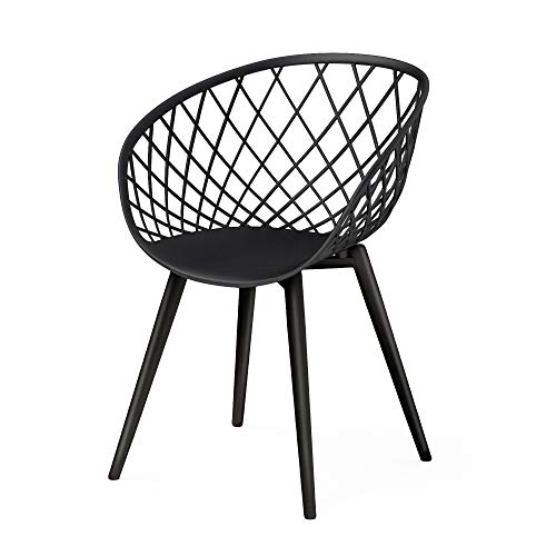 DAR Camber Dining Chair, Set of 2, Black