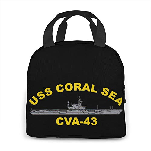 Uss Coral Sea Cva-43 Portable Insulated Lunch Bag Waterproof Tote Bento Bag Lunch Tote