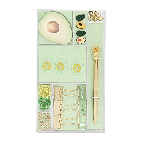 Office Supplies Stationery Set Cute Avocado Paper Clips Binder Clips Push Pins Sticky Notes Pad Ballpoint Pen Stationery Kit 33 Packs Gold&Green Desktop Supplies Set
