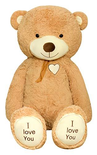 TEDBI Teddybär 140cm | Farbe Hellbraun | Groß Teddy Bear Plüschbär Stofftier Kuscheltier Plüschtier XXL Teddi Bär mit Stickerei I Love You Ich Liebe Dich