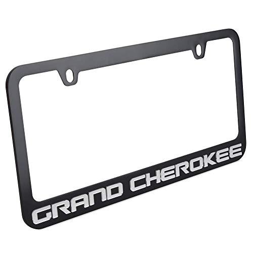 Eurosport Daytona Jeep Grand Cherokee License Plate Frame - Black with Mirrored Script