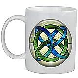 Celta Wedding Jewelry – Taza de cristal manchado verde y azul, nudo celta, joyería irlandesa, joyería celta, joyería de...