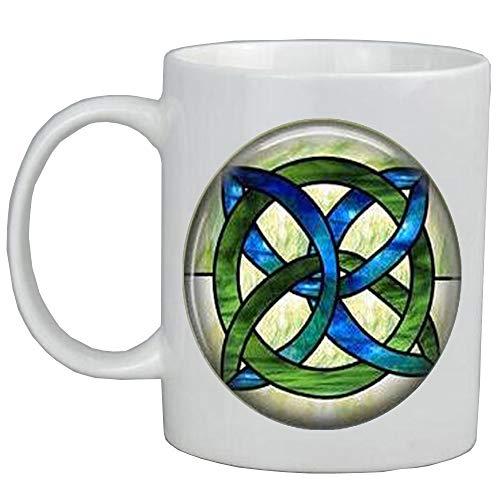 Celta Wedding Jewelry – Taza de cristal manchado verde y azul, nudo celta, joyería irlandesa, joyería celta, joyería de novia celta, AS115