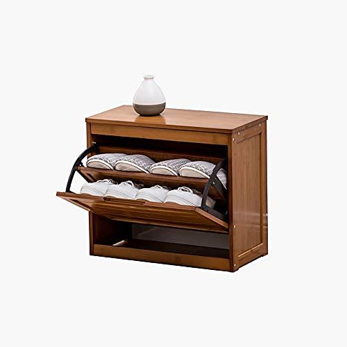 Zapatero de bambú para puerta de casa, zapatero simple para casa, multicapa, se puede sentar, multifunción, cubo de almacenamiento, taburete para cambiar zapatos, 50 x 25 x 43 cm