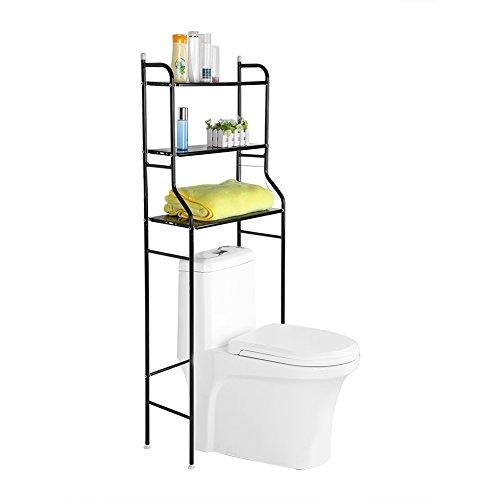 SKIESOAR - Mobiletto portaoggetti da Bagno in Metallo a 3 Livelli, ripiano Superiore in Lavatrice, Risparmio di Spazio per WC, 56 x 25 x 151 cm