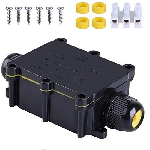 Boîte de jonction étanche IP68 - 2 voies - M20 - Câble coaxial de 5 à 12 mm - Câble extérieur pour câble d'alimentation extérieur.