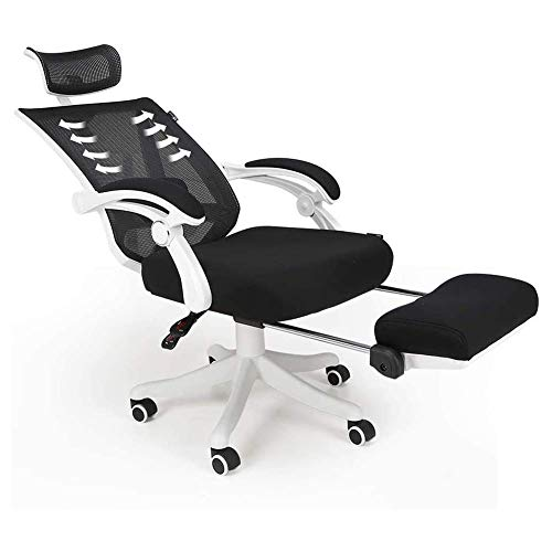 N/Z Home Equipment Reclining Office Desk Chair with Footrest and Lumbar Support Computer Racing Chair Reclinable Comfy Ergonomic Armchair Chair Desk Chair (Color : White)