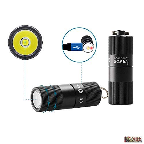 Olight i1R EOS 130 Lumen Tiny Rechargeable LED Keychain Light with Built-in battery and USB cable, Low-Hight Two Modes Twist Switch