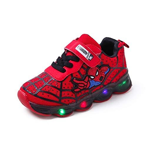 Zapatos de niños led zapatillas luminosas zapatillas entrenadores niños niñas bebés nuevo spiderman zapatos niño pequeño niños niños transpirable parpadeando regalo 1-6T o niños pequeños grand