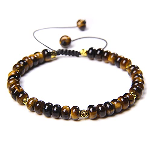 YUANCHENG Pulseras de Perlas artesanales pulidas Naturales de 4 * 6 mm, joyería Hecha a Mano para Hombres
