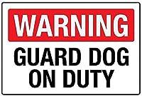 2個 警告番犬オンデューティブリキサイン金属プレート装飾サイン家の装飾プラークサイン地下鉄金属プレート8x12インチ メタルプレート レトロ アメリカン ブリキ 看板
