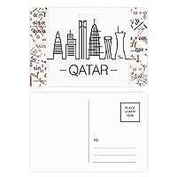 市はカタールのランドマークを描く 公式ポストカードセットサンクスカード郵送側20個
