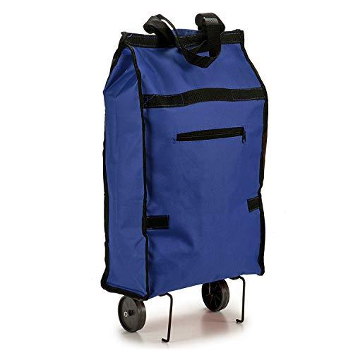 TU TENDENCIA ÚNICA Bolsa de Compra Plegable con Ruedas. Asa de Transporte. Impermeable (Azul)