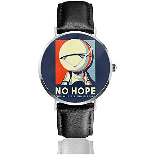 Unisex Hitchhikers Guide zur Galaxie Marvin The Robat No Hope Uhren Quarzlederuhr mit schwarzem Lederband
